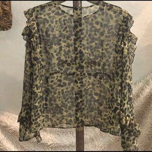 H&M Leopard Ruffle Blouse